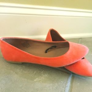 H&M Coral/Orange Suede Flats- Like new!!